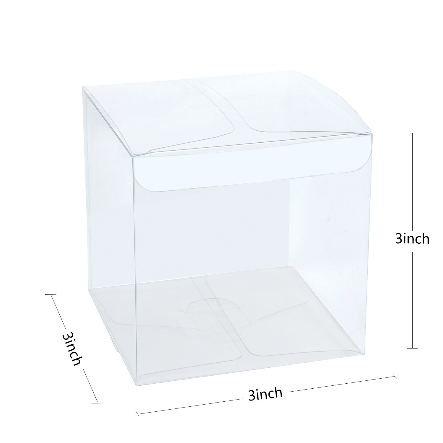 LaRibbons 50Pcs PET Clear Box, Transparent Boxes/Clear Gift Boxes for Wedding, Party and Baby Shower Favors, 3'' L x 3'' W x 3'' H by LaRibbons (Image #2)