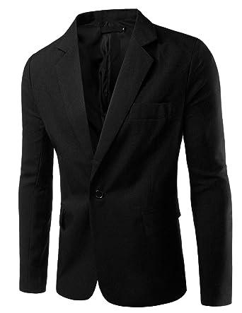 e89459600 Pishon Men's Slim Fit Blazer Jacket Solid Cotton Casual One Button Sport  Coats, Black,