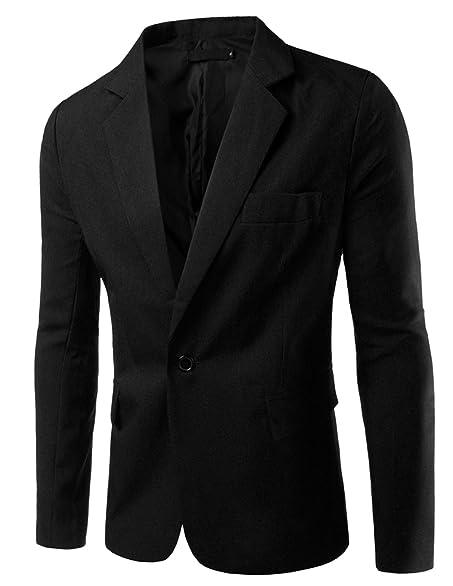 Pishon Men's Slim Fit Blazer Jacket Solid Cotton Casual One Button ...