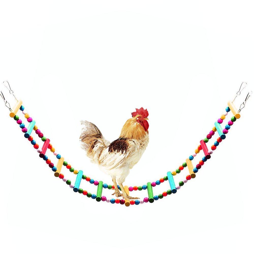 Mrli Pet Wooden Chicken Flexible Ladder,Parrot Chicken Swing Toy 47.2 inch by Mrli Pet