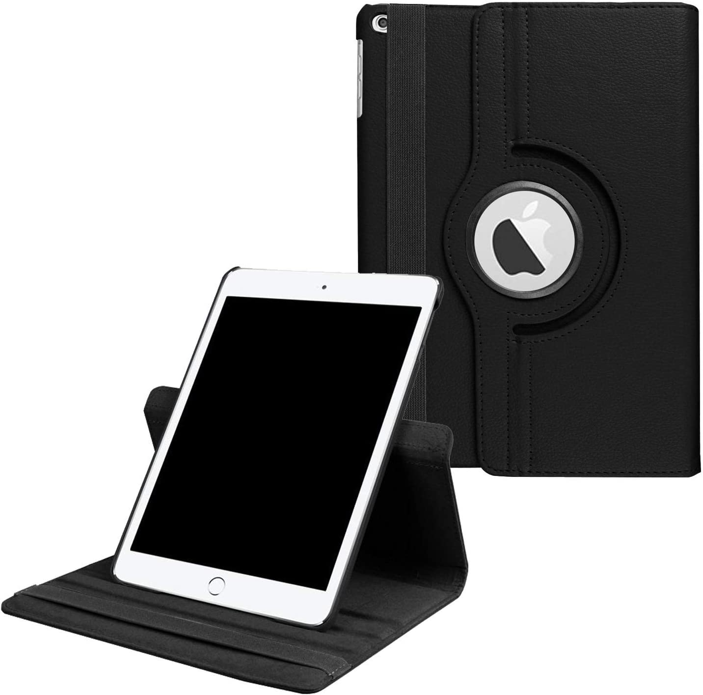 """Rayhee iPad Case for New iPad 8th Gen (2020) / 7th Generation (2019) 10.2 Inch,360 Degree Rotating Stand Smart Cover with Auto Sleep Wake for New iPad 10.2"""" Case(Black)"""