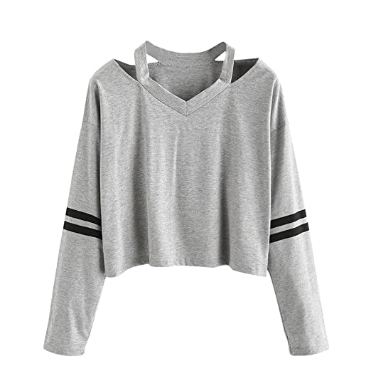 3bdf157b1fe2 TLoowyTM Women Teen Girls Fashion Cutout Shoulder Striped Long Sleeve  Sweatshirt Pullover Crop Top at Amazon Women's Clothing store: