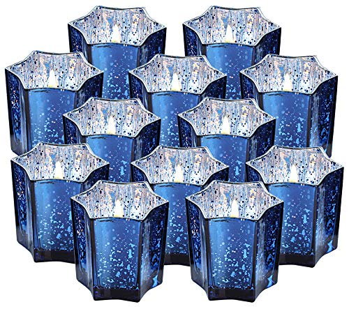 Vixdonos Large Star Votive Candle Holders Bulk,3 Inches Mercury Glass Tealight Candle Holder Set of 12 for Wedding, Party and Home Decor(Navy Blue)