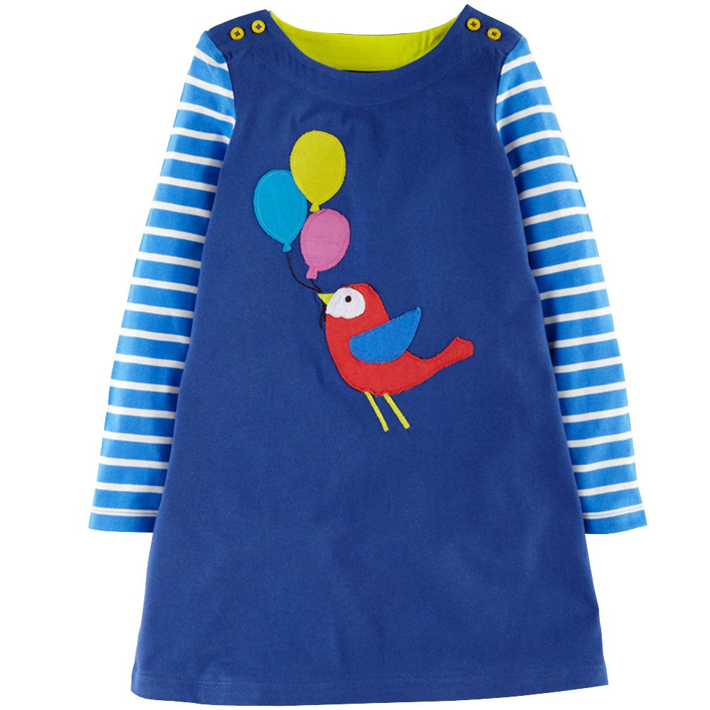 Csbks Girls Long Sleeve Dress Cute Applique Cartoon T-Shirt Dresses 5 Blue