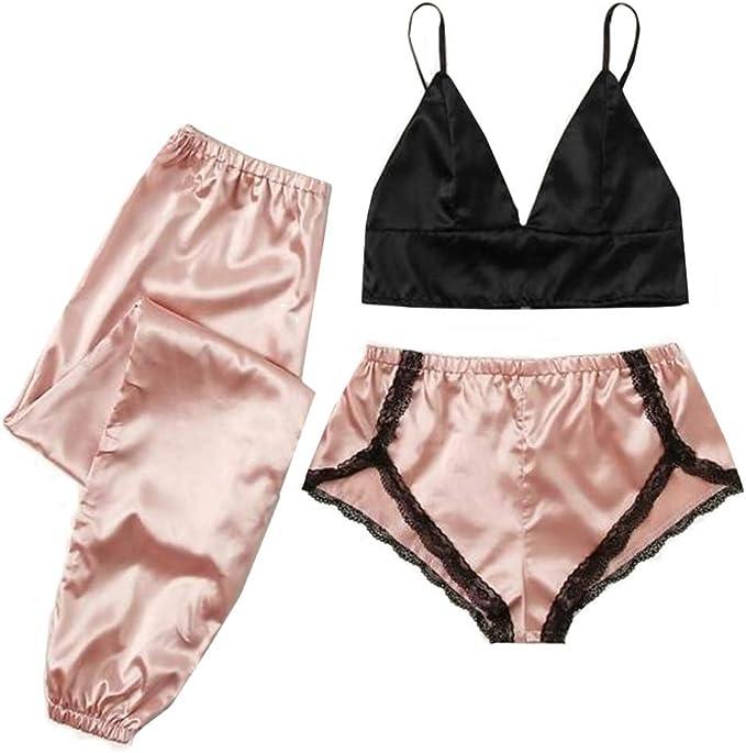 Satin Silk Stitching G String Panties Corset Bralette Bra Lace Lingerie Set