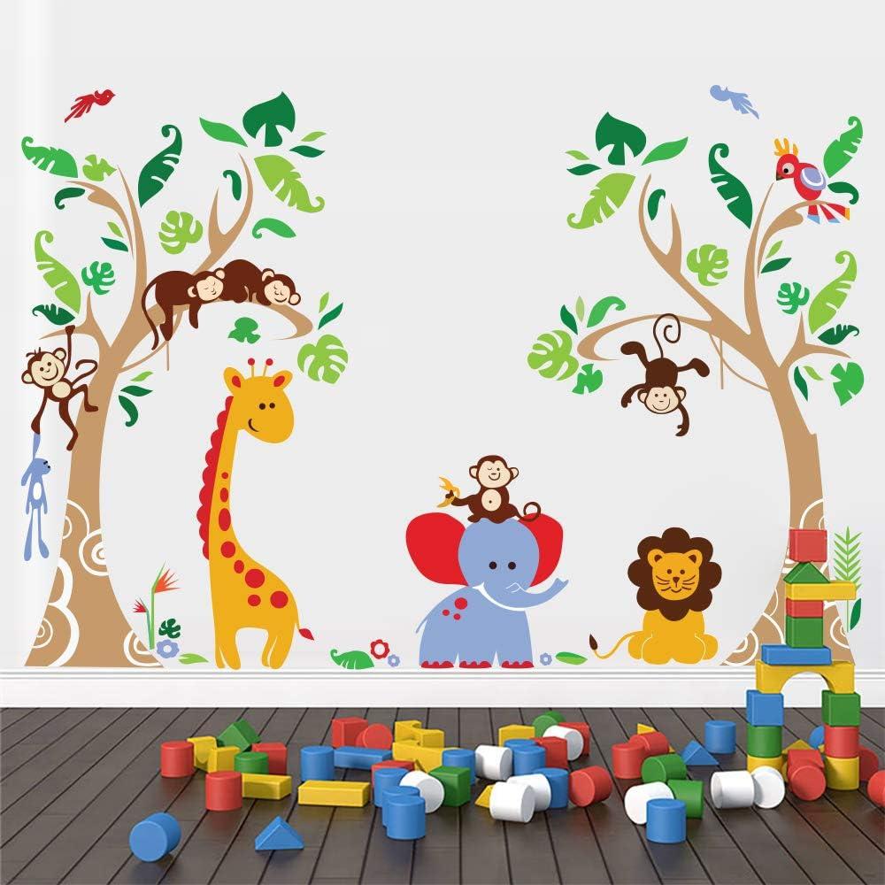 Runtoo Jungle Animals Tree Wall Decals for Nursery Baby Kids Bedroom Monkey Giraffe Elephant Wall Stickers Adventure Wall Décor
