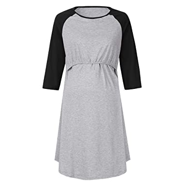 2699c8e3d79 Amazon.com: Women Long Maxi Dresses, Maternity Solid 3/4 Sleeve Loose  Casual Tunic Layered Nursing Breastfeeding Dress: Clothing