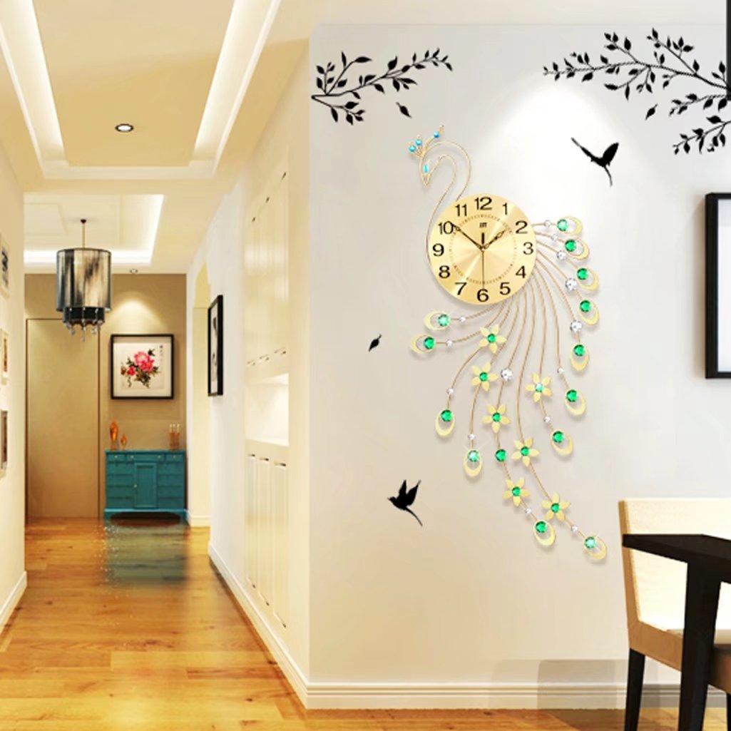 A-KUYA 欧式 ファッション 花びら クジャク モダン アニマル 数字時計 静か 壁掛け おしゃれ 掛け時計 デザイン リビング デジタル インテリア ホーム 客室 電池式 静音 二色 キンイロ B073RDXD7R キンイロ キンイロ