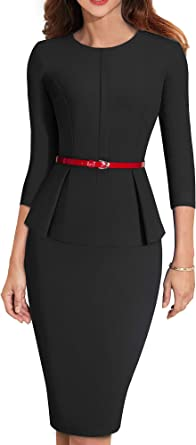 Women/'s 3//4 Sleeve Office Wear Peplum Dress with Belt B473