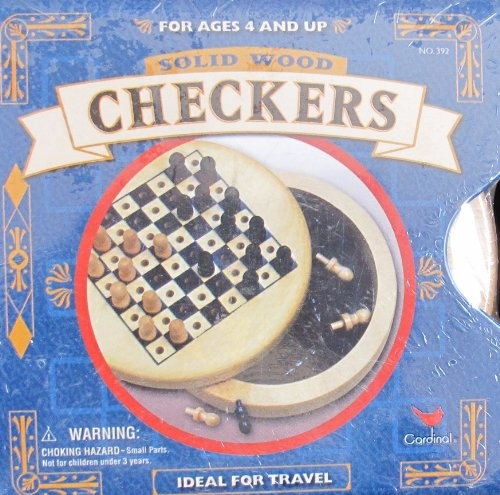 Cardinal SOLID WOOD CHECKERS GAME w 'Peg Leg' WOODEN PIECES & Metal SLEEVE Ideal For TRAVEL (1999) (Handheld Checkers)