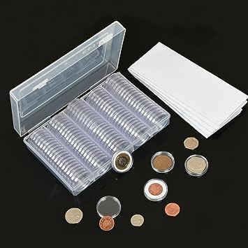 200 Stücke Münzkapseln Runde Münzhalter Kunststoffmünze Behälter Fall 21mm