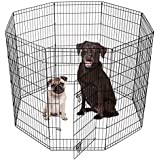 "SmithBuilt - Premium 8-Panel Black Dog Exercise Play Pen with Door and Carry Bag - 48"" Tall"
