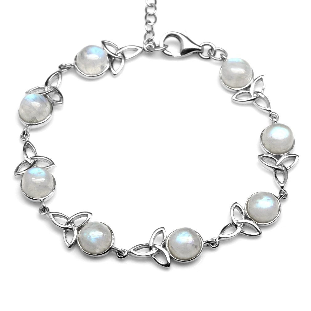 Natural Moonstone 925 Sterling Silver Triquetra Celtic Knot 7-8.5 Inch Adjustable Bracelet by Silvershake
