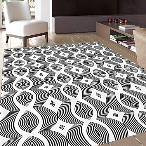 (Rug,Floor Mat Rug,Contemporary,Area Rug,Monochrome Waving Pattern with Curves and Diamond Shapes Op Art Design,Home mat,5'8