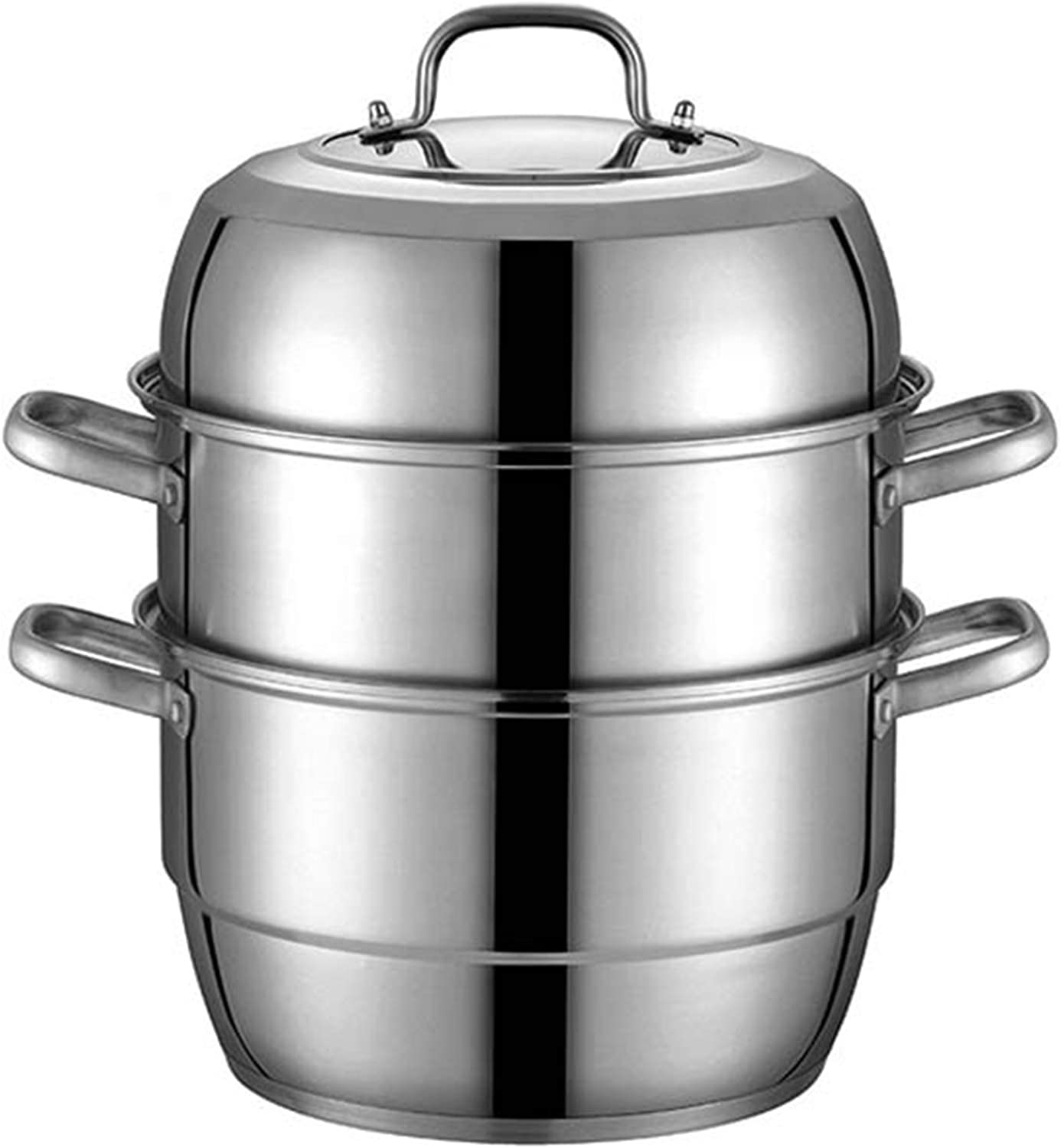 XH&XH Stainless Steel Steamer Pot Steamer Food Steamer Multi Layer Pot Steam Boiler with Transparent Lid for Kitchen Kitcken Three Layers 30cm