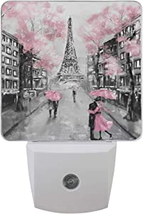 ALAZA 2 Pack Art Paris Street Eiffel Tower Pink Floral LED Night Light Dusk to Dawn Sensor Plug in Night Home Decor Desk Lamp for Adult