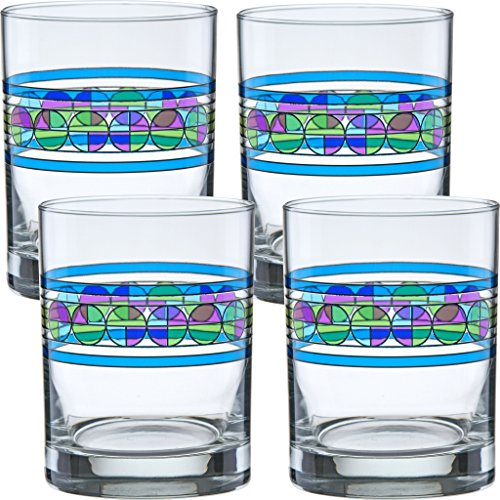 Frank Lloyd Wright Saguaro Flower DOF Double Old Fashioned Glass 14-Ounce Set of 4
