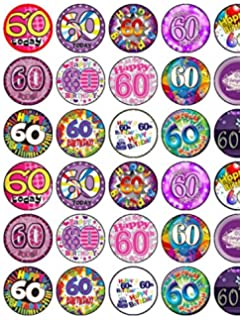 30 Assorted 60th Birthday Female Premium Rice Paper Cup Cake Toppers