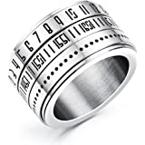 JAJAFOOK Men's Arabic Numerals Spinner Rings Band, Stainless Steel Rotatable Ring,14MM Wide