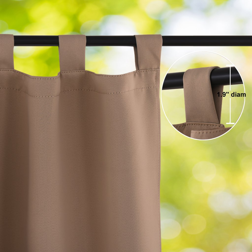 NICETOWN Outdoor Curtain Panel for Patio, Thermal Insulated Tab Top Blackout Indoor Outdoor Curtain/Drape for Living Room (1 Panel,52 by 84-Inch, Tan-Khaki) by NICETOWN (Image #3)