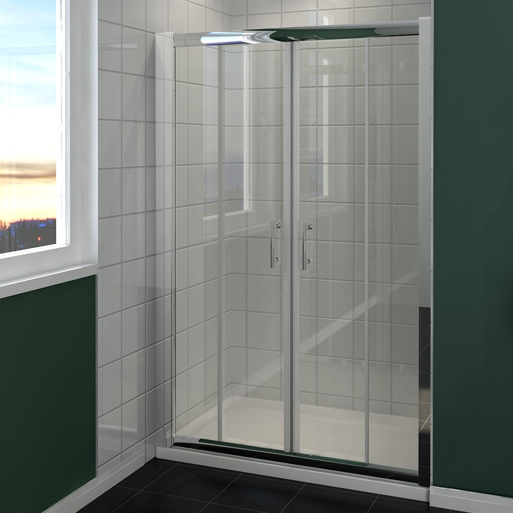 1300mm Chrome Double Sliding Shower Door Enclosure Cubicle Glass Screen Door sunny showers