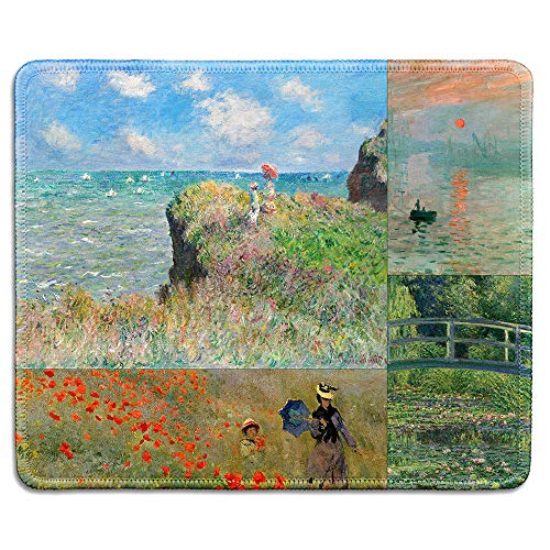 (dealzEpic - Art Mousepad - Natural Rubber Mouse Pad Printed with Claude Monet Impression Paintings Art Collage - Stitched Edges - 9.5x7.9 inches )