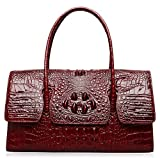 PIJUSHI Womens Top Handle Handbags and Purses Crocodile Bags for Ladies (27006 red)