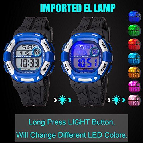 Kids Watch Sport Multi Function 30M Waterproof LED Alarm Stopwatch Digital Child Wristwatch for Boy Girl by Takyae (Image #2)