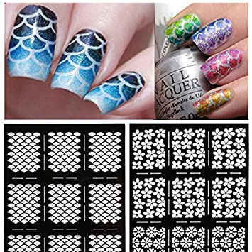 96 Pieces 16 Different Designs Nail Vinyls Stencil Sheets Easy Art Guides