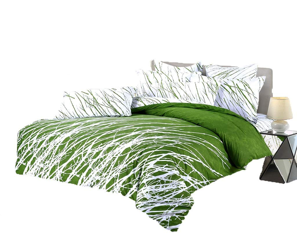 Swanson Beddings Tree Branches 3-Piece 100% Cotton Bedding Set: Duvet Cover and Two Pillow Shams (Green White, Queen)
