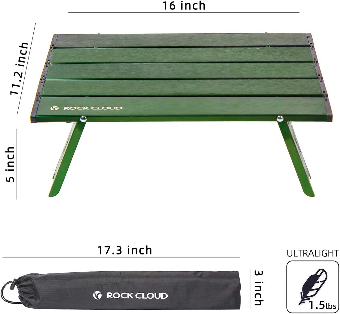 Rock Cloud Portable Beach Table Aluminum Ultralight Folding Camping Table Green