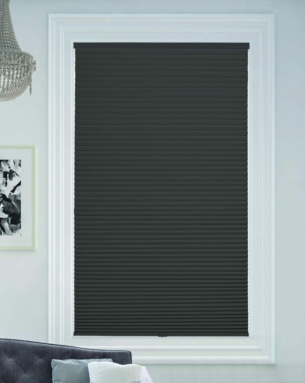 Anthracite BlindsAvenue Cellular Honeycomb Cordless Shade 9//16 Single Cell Blackout Size: 18 W x 72 H