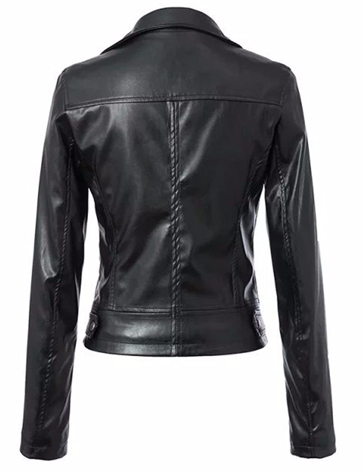 Amazon.com: Miss.Boocai Womens Classic PU Leather Long Sleeve Lapel Zip Up Fitted Biker Outwear Jacket: Clothing