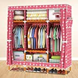 GL&G Portable Clothes Closet Waterproof Oxford cloth Wardrobe Double Rod Storage Organizer Bedroom Wardrobes Clothing Storage Solid wood Foldable Closets,J,58''68''