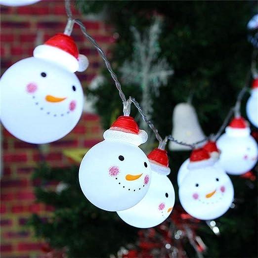 Bestllin Cadena de luces LED de muñeco de nieve para jardín, hogar, boda, fiesta de Navidad, funciona con pilas, 110 W, Blanco cálido: Amazon.es: Iluminación