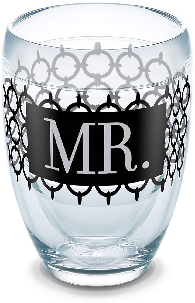 Tervis 1302790 Hallmark - Mr. Circle Pattern Insulated Tumbler with Wrap 9oz Stemless Wine Glass Clear