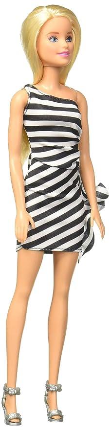 separation shoes a3bc6 b211e Mattel Barbie 60° Anniversario, Bambola con Vestito a Righe Bianco e Nero,  Giocattolo per Bambini 3 + Anni, GJF85