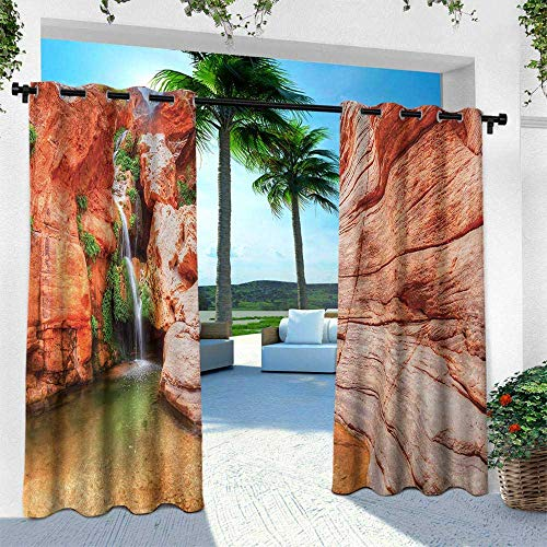 (Hengshu Americana, Outdoor Privacy Curtain for Pergola,Elves Chasm Colorado River Plateau Creek Grand Canyon Image Print, W84 x L84 Inch, Scarlet Green Light Brown)