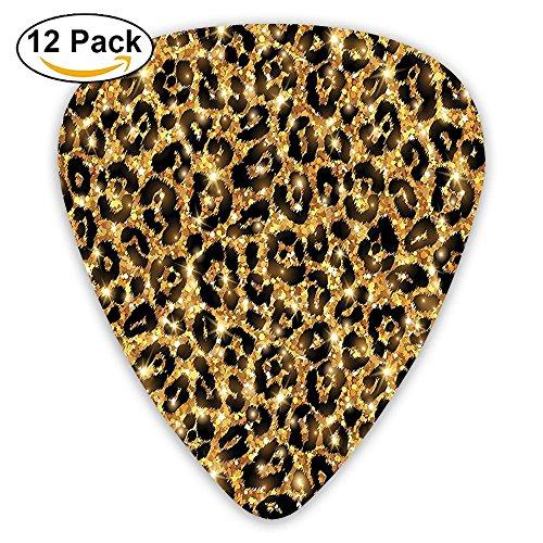 - Newfood Ss Leopard SkIn Pattern With Gold Trendy Feminine Sexy Kitsch Rosettes Safari Theme Guitar Picks 12/Pack Set