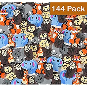Mini Animal Erasers-Zoo Animal Erasers -144 Pack Of 1 Inch Assorted ,Zoo, Safari And Jungle Erasers - For Kids, Parties, Party Favors, Gifts, School, Education, School Supplies and Daycare By Kidsco