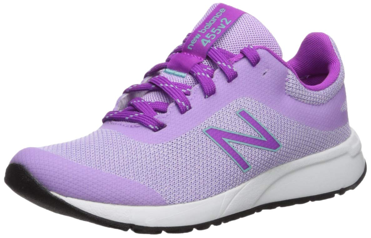 New Balance Girls' 455v2 Running Shoe DARK VIOLET GLO/VOLTAGE VIOLET, 11 M US Little Kid