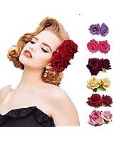 Ever Fairy Rose Flower Hair Clip Slide Flamenco Dancer Pin Flower Brooch Lady Hair Styling Clip Hair Accessories