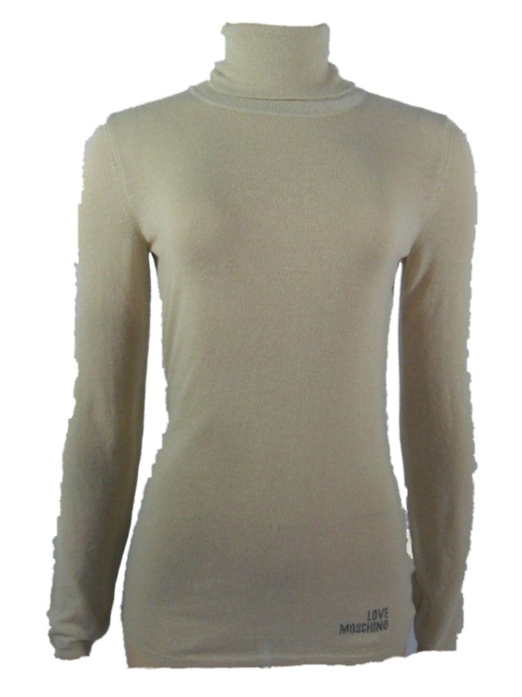 Love Moschino Women's Sheer Knit Sweater Turtleneck 6 Beige by Love Moschino (Image #1)