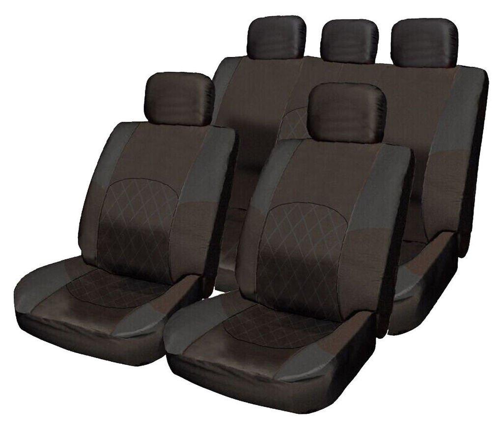 Volvo V40 V50 V60 V70 V90 XC60 XC70 ALL BLACK Cloth Seat Cover Set Split Rear Seat