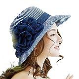 Dream Amy Sunscreen Beach Folding Beach Female Beach Vacation Travel Sun Straw Hat C (Blue)