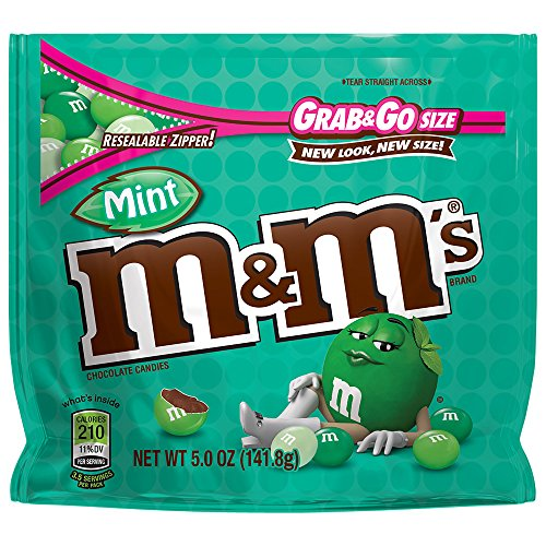 M&M'S Mint Dark Chocolate Candy Grab & Go Size 5-Ounce Bag (Pack of 8) -