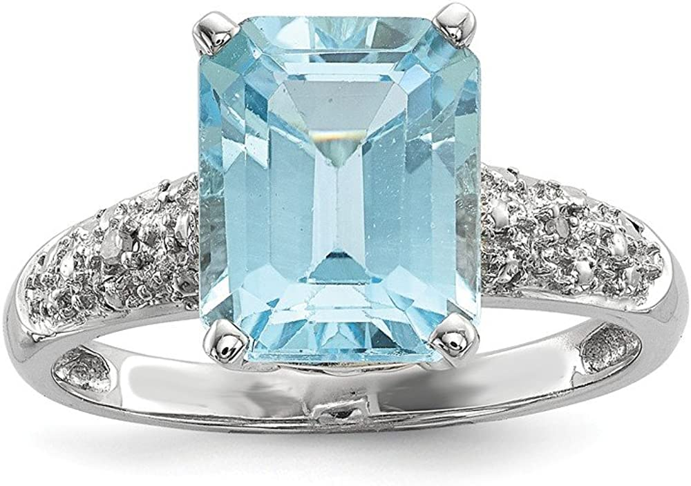 Sterling Silver and 14K Sky Blue Topaz and Diamond Ring