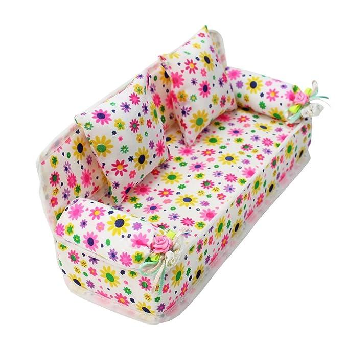WINOMO Miniatur Möbel Flower Print Sofacouch mit 2 Kissen für Barbie Flower  (Pink)  Amazon.de  Spielzeug f1c8ef6f79