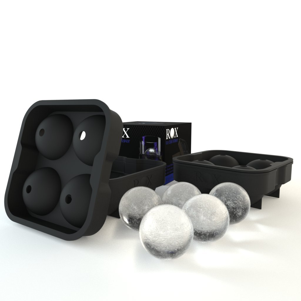 ROX Ice Ball Maker - 4 x 4.5 cm 4 Sphere Mold Ice Cube Tray. Ice Press Alternative (single pack) COMINHKPR29290