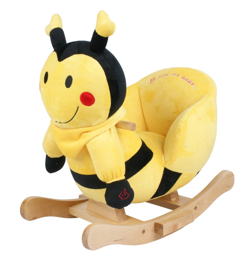 Bumble Bee Soft Rocker Brightly coloured soft touch fabrics. Solid wooden frame